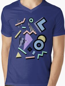 80s Pattern Vaporwave Memphis Pastel Squiggles Mens V-Neck T-Shirt