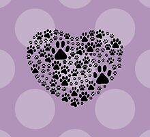 Dog Paws, Trails, Paw-prints, Heart - Black  by sitnica