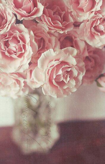 pink roses by beverlylefevre