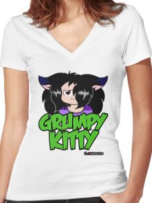 Grumpy Faith Women's Fitted V-Neck T-Shirt