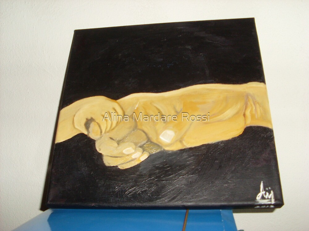hands love father baby oil painting on canvas by Alina Mardare Rossi