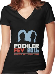 Poehler Fey 2016 funny nerd geek geeky Women's Fitted V-Neck T-Shirt
