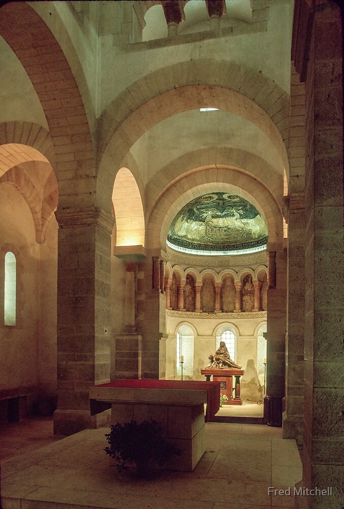 Apse and altar of  St Germigny de Pres 806 ad 19840224 0005  by Fred Mitchell