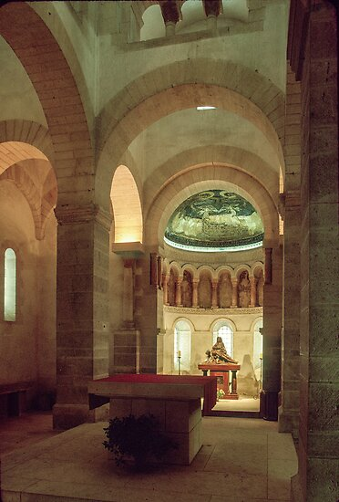 Apse and altar of  St Germigny de Pres 806 ad 198402240005  by Fred Mitchell