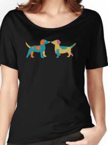 Paper Dogs Pattern Women's Relaxed Fit T-Shirt