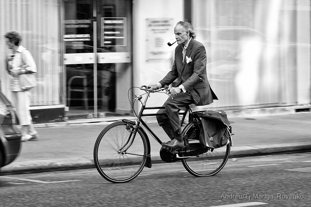 Parisian Streets - Monsieur and his bicycle by Andrew & Mariya  Rovenko