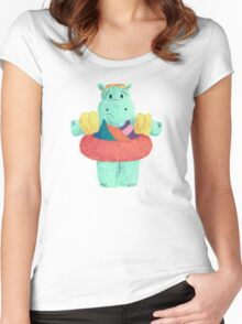 Nervous Beachy Hippo Women's Fitted Scoop T-Shirt