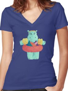 Nervous Beachy Hippo Women's Fitted V-Neck T-Shirt