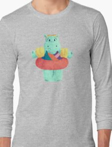 Nervous Beachy Hippo Long Sleeve T-Shirt