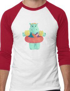 Nervous Beachy Hippo Men's Baseball ¾ T-Shirt