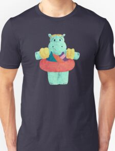 Nervous Beachy Hippo Unisex T-Shirt