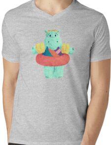 Nervous Beachy Hippo Mens V-Neck T-Shirt