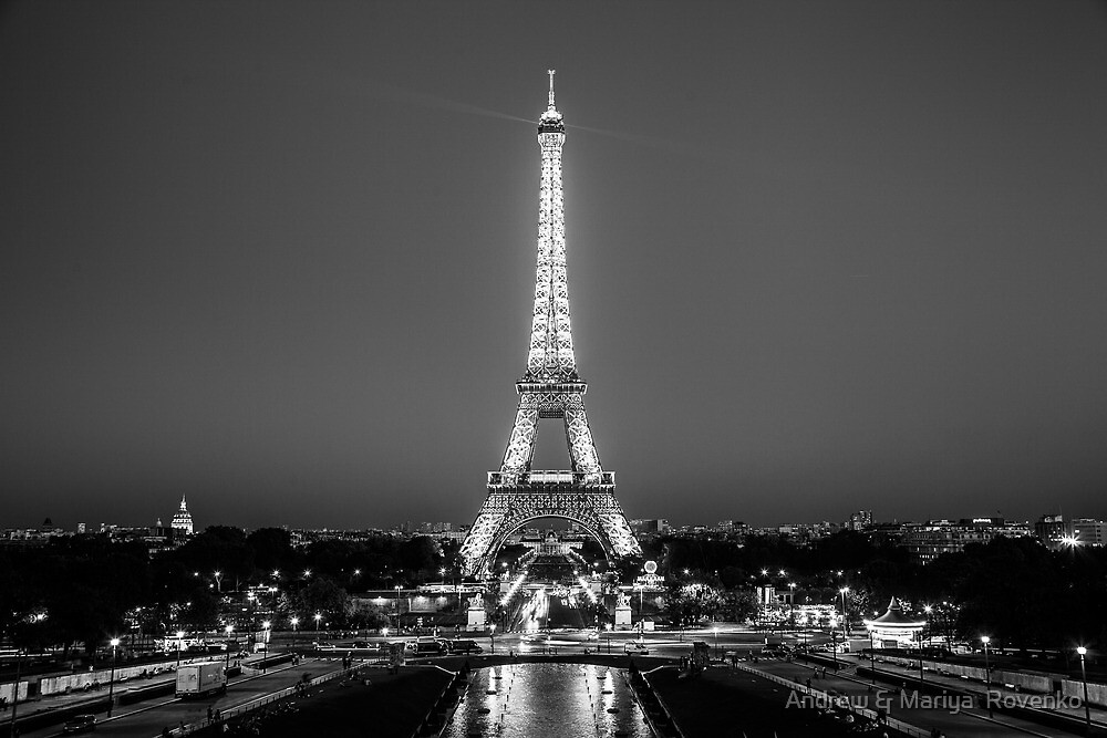 Eiffel tower in black white by andrew mariya rovenko for Eiffel tower wall mural black and white