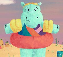 Nervous Beachy Hippo by Megs Higgins