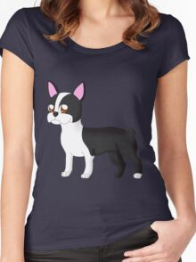 Little Boston Terrier Friend Women's Fitted Scoop T-Shirt