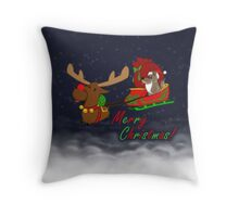 Moose and Trickster wish you a Merry Christmas! Throw Pillow