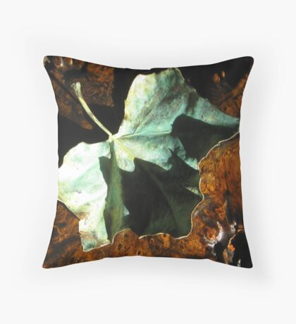 Shadow Leaf on Table Throw Pillow