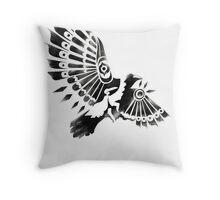 Raven Crow Shaman tribal tattoo design Throw Pillow