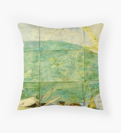 Brisbane River - Blue Dinghy Throw Pillow