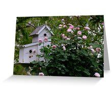 Birdhouse with David Austin Rose - Mayor of Casterbridge Greeting Card