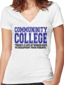 Community College  Women's Fitted V-Neck T-Shirt