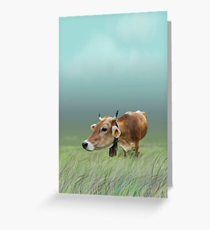 Milk cow in the field VRS2 Greeting Card