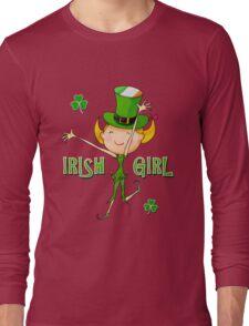 Irish Girl with Leprechaun Hat of Ireland Flag & Green Shamrock Clovers Long Sleeve T-Shirt