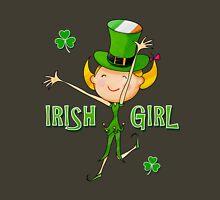Irish Girl with Leprechaun Hat of Ireland Flag & Green Shamrock Clovers Womens Fitted T-Shirt