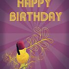 Happy Birthday Singing Yellow Bird Purple by Flylittlebird