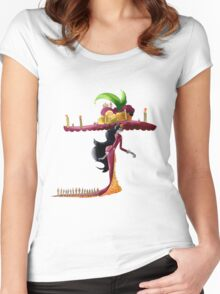 Death walks with hat Women's Fitted Scoop T-Shirt