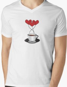 Coffee Cup, Balloons, Hearts - Red White Black  Mens V-Neck T-Shirt