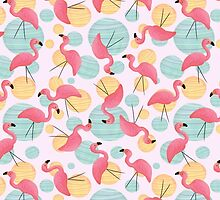 Summer Flamingos and Party Lights by Megs Higgins