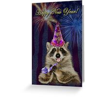 New Years Raccoon Greeting Card