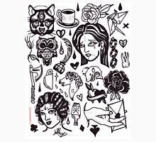 pen and ink blackwork flash sheet Unisex T-Shirt
