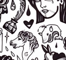 pen and ink blackwork flash sheet Sticker