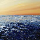 North Sea (with oil rig) by Carole Russell