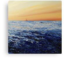 North Sea (with oil rig) Canvas Print