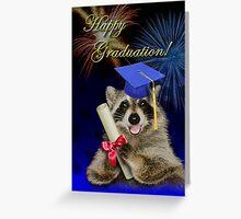 Graduation Raccoon Greeting Card