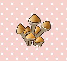 Mushroom, Toadstool, Stem - Orange Brown  by sitnica