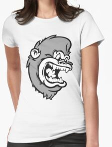 B&W Monkeying Around. Womens Fitted T-Shirt