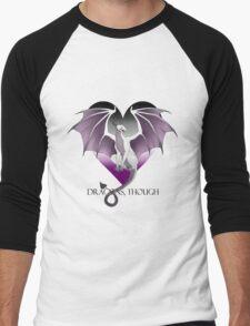 Dragons, Though (Ace of Hearts) Men's Baseball ¾ T-Shirt