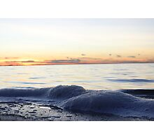 Sunset and Bay with Foam Photographic Print