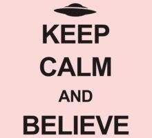 X-Files - Keep Calm and Believe (black text) One Piece - Short Sleeve