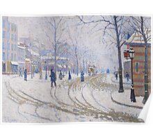 Snow, Boulevard de Clichy, Paris, 1886 Poster