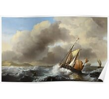 Fishing Vessels Offshore in a Heavy Sea, 1864  Poster