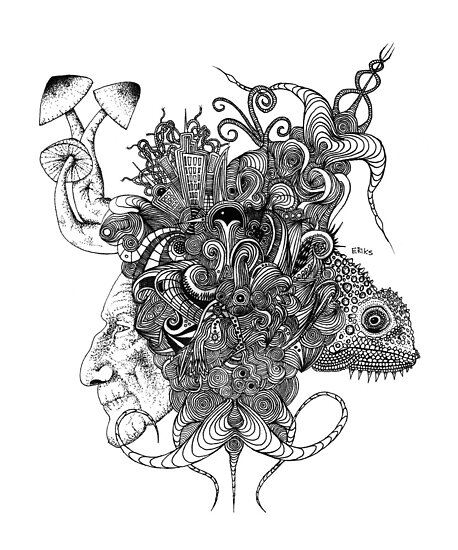 Psilocybinaturearthell Psychedelic Ink Illustration by theredspell