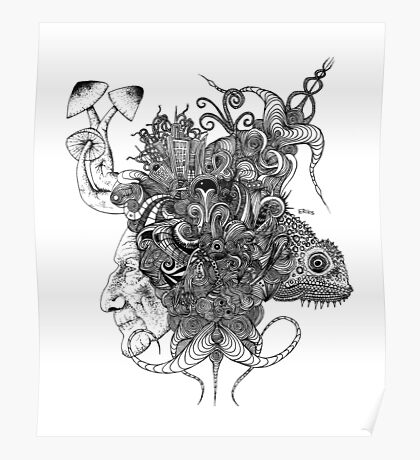 Psilocybinaturearthell Psychedelic Ink Illustration Poster
