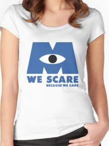 WE SCARE BECAUSE WE CARE Women's Fitted Scoop T-Shirt