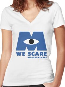 WE SCARE BECAUSE WE CARE Women's Fitted V-Neck T-Shirt