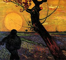 The Sower, Vincent van Gogh.  Impressionism fine art, oil painting. by naturematters